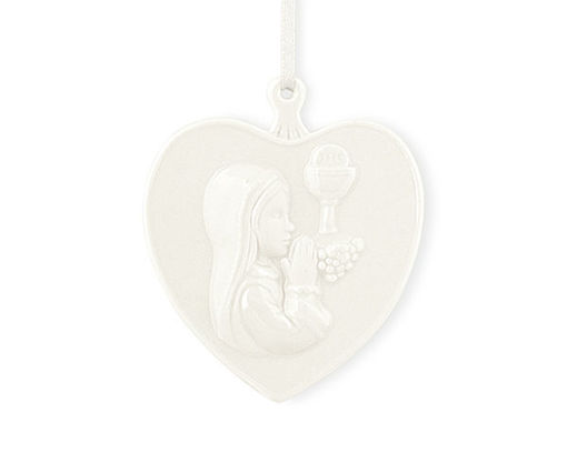 Immagine di Cuore bianco in ceramica Bimba prima comunione con astuccio 7.5 x 7 cm