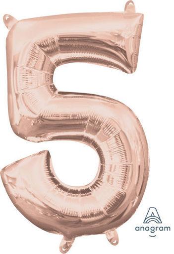 Palloncino Mylar 40 cm Rosa Antico Numero 5
