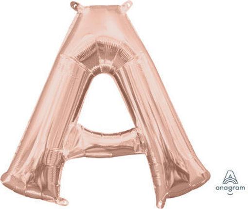 Immagine di Palloncino Mylar 40 cm Rosa Antico Lettera A