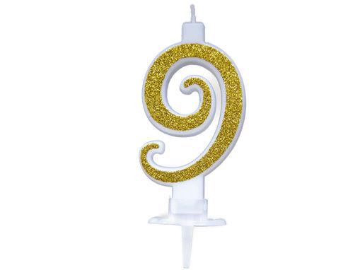 Immagine di Candela mini Glitter Oro numero 9
