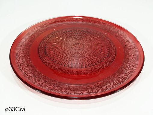 Immagine di Piatto in Vetro da 33 cm Rosso