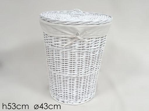 Immagine di Cesta in Vimini Bianca con Coperchio altezza 53 cm diametro 43 cm