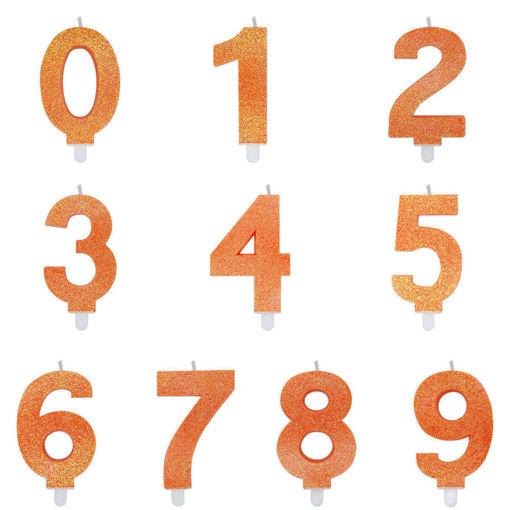Immagine di Candelina Sweety 9 cm Arancio Glitter numeri dallo 0 al 9