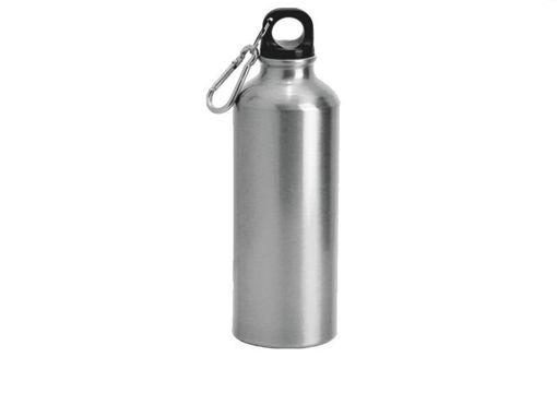 Immagine di Borraccia in alluminio Argento da 500 ml con moschettone