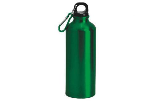 Immagine di Borraccia in alluminio Verde da 500 ml con moschettone