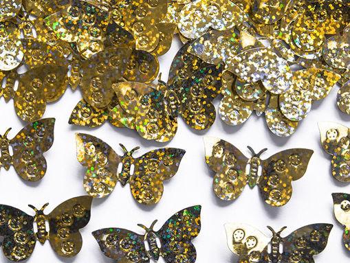 Immagine di Confetti da Tavolo Holographic Farfalle Oro 15 grammi