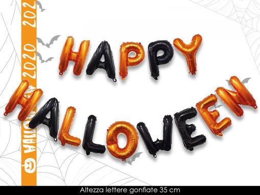 Immagine di Palloncini Mylar Set Scritta Happy Halloween da 35 cm