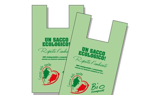 Immagine di Busta Shopper Biocompost Verde 30x60 cm 4 kg