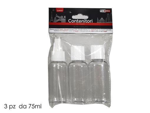 Immagine di Set 3 contenitori da Viaggio in plastica da 75 ml
