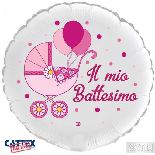 Immagine di Palloncino Mylar 18'' 45 cm Il Mio Battesimo Rosa - satinato