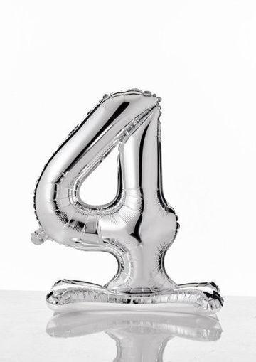 Immagine di Palloncino Mylar Argento autoportante 70 cm numero 4