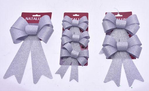 Immagine di Coccarda Fiocco Argento per decorazione Natalizia - modelli assortiti