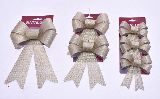 Immagine di Coccarda Fiocco Oro per decorazione Natalizia - modelli assortiti