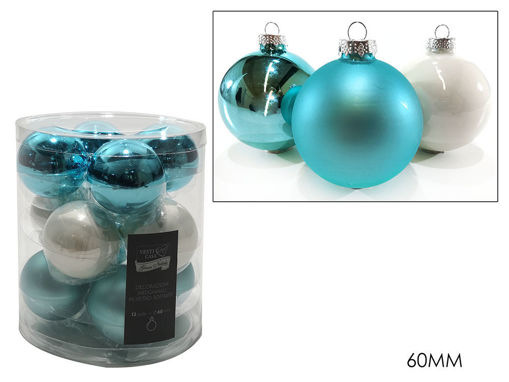 Immagine di 12 Palle in vetro 60 mm colore Turchese