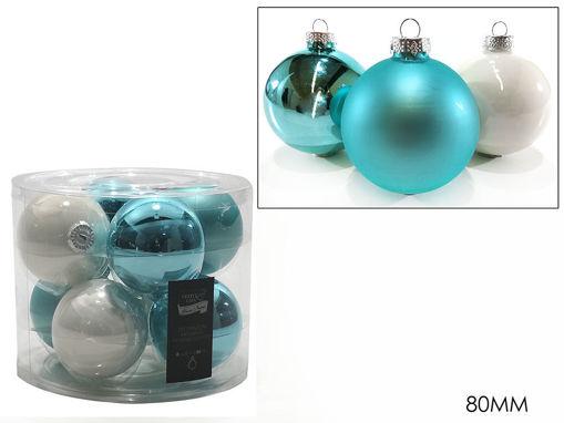 Immagine di 8 Palle in vetro 80 mm colore Turchese