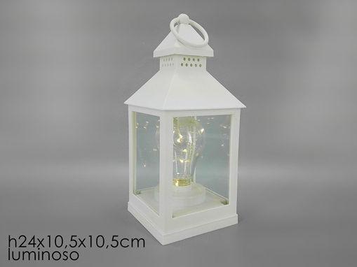 Immagine di Lanterna Bianca 24 cm con Lampadina a Batterie