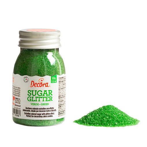 Immagine di Zucchero Glitterato 100 grammi Verde