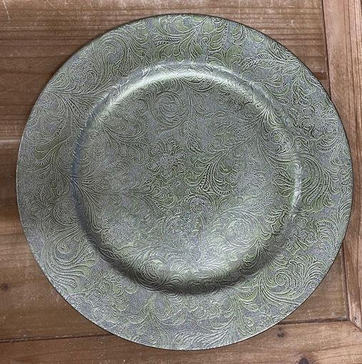 Immagine di Sottopiatto decorato diametro 33 cm Verde