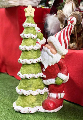 Immagine di Babbo Natale con Albero di Natale in vetro ceramica