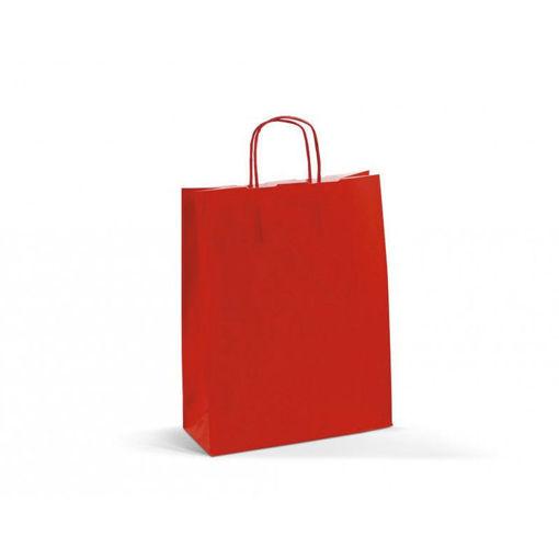 Immagine di Busta in Carta Rossa manico ritorto 32+13x28 cm