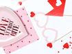 Immagine di Tovaglioli 33x33 Rosa con stampa cuori rossi 20 pezzi