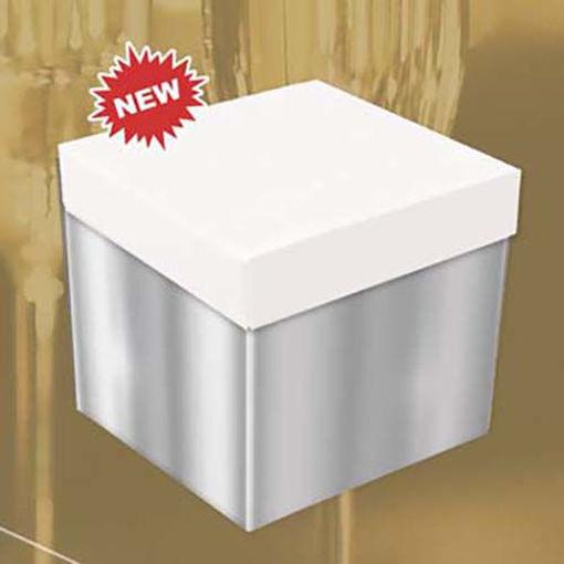 Big Skatush Scatola Regalo porta palloncini 60x60x60 Argento con coperchio Bianco
