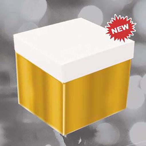 Big Skatush Scatola Regalo porta palloncini 60x60x60 Oro con coperchio Bianco