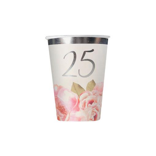Bicchieri in carta 200 cc 25° Anniversario Floral 20 pezzi