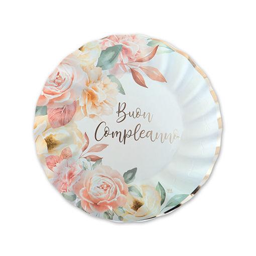Piatti in carta 20 cm Buon Compleanno Rose Gold 8 pezzi