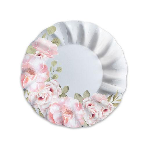 Piatti Fondi in carta 24 cm Floral 8 pezzi