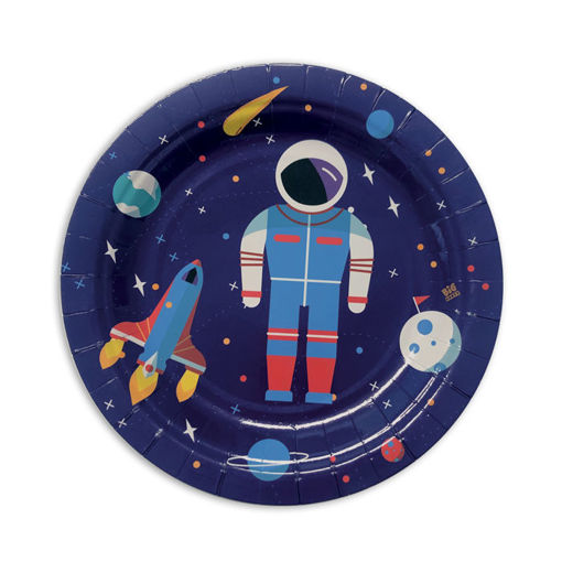 Piatti in carta 18 cm Astronauta 8 pezzi