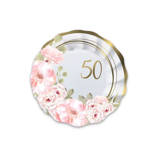 Piatti in carta 20 cm 50°Anniversario Floral 8 pezzi