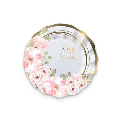 Piatti in carta 20 cm Oggi Sposi Floral 8 pezzi