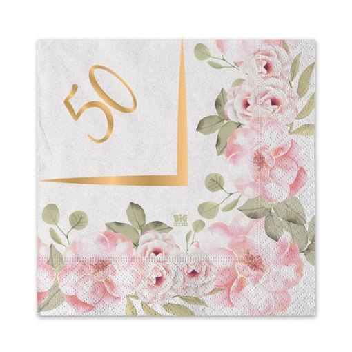 Tovaglioli 25x25 cm 50°Anniversario Floral 20 pezzi