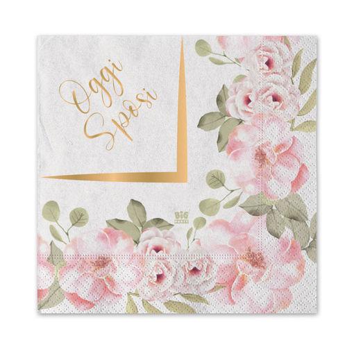 Tovaglioli 25x25 cm Oggi Sposi Floral 20 pezzi