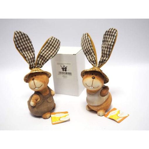 Coniglio con Cappello paglia + orecchie stoffa
