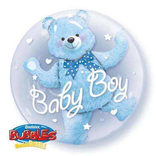 Palloncino Qualetex 24'' 61 cm - Bubbles - Baby Boy Orsacchiotto Celeste