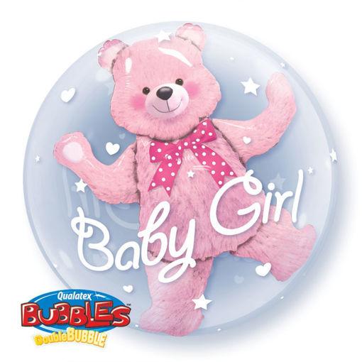 Palloncino Qualetex 24'' 61 cm - Bubbles - Baby Boy Orsacchiotto Rosa