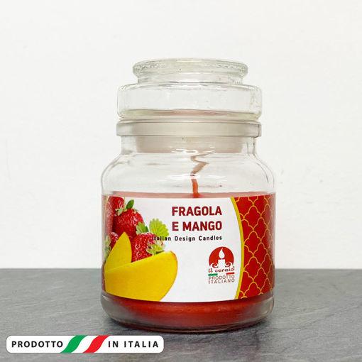 Giara in vetro 7x10 cm con Candela profumata Fragola e Mango