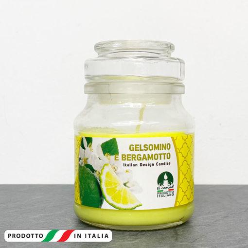 Giara in vetro 7x10 cm con Candela profumata Gelsomino e Bergamotto