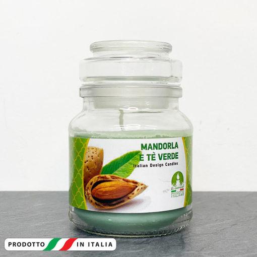 Giara in vetro 7x10 cm con Candela profumata Mandorla e Tè Verde