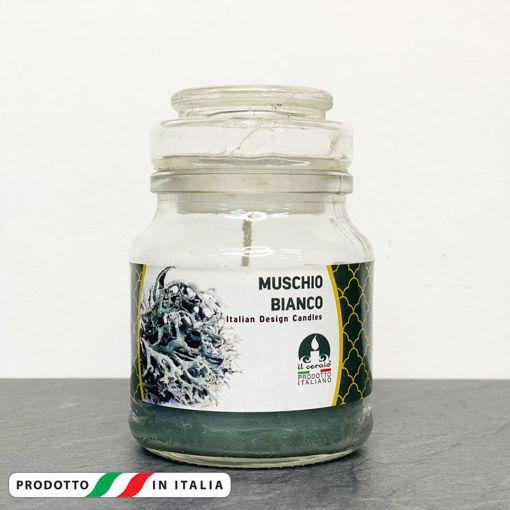 Giara in vetro 7x10 cm con Candela profumata Muschio Bianco