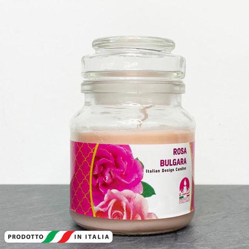 Giara in vetro 7x10 cm con Candela profumata Rosa Bulgara