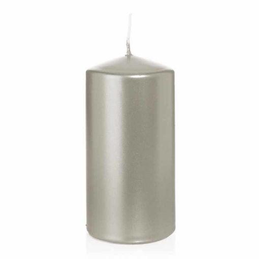 Candela Cilindro altezza 12 cm diametro 6 cm Argento