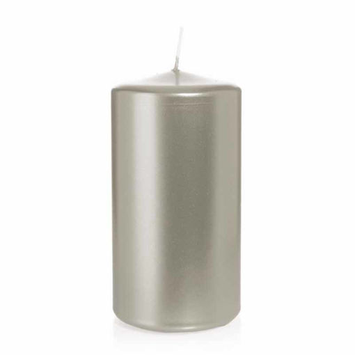 Candela Cilindro altezza 15 cm diametro 8 cm Argento