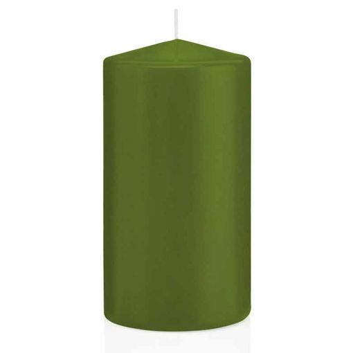 Candela Cilindro altezza 15 cm diametro 8 cm Verde Oliva