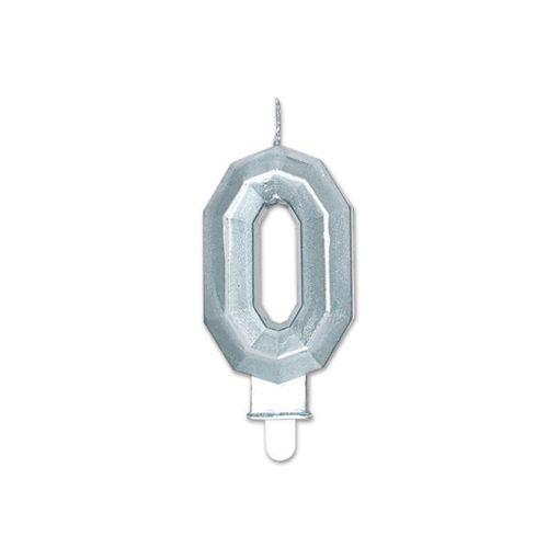 Candelina Diamant Argento Metal 9 cm numero 0