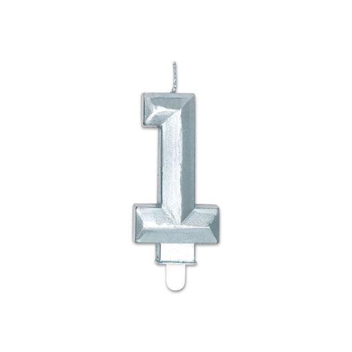 Candelina Diamant Argento Metal 9 cm numero 1
