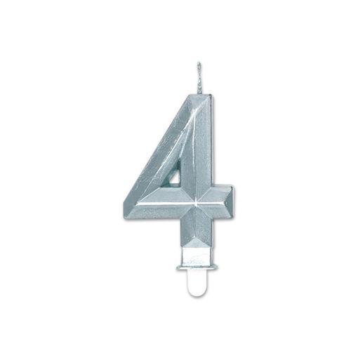 Candelina Diamant Argento Metal 9 cm numero 4