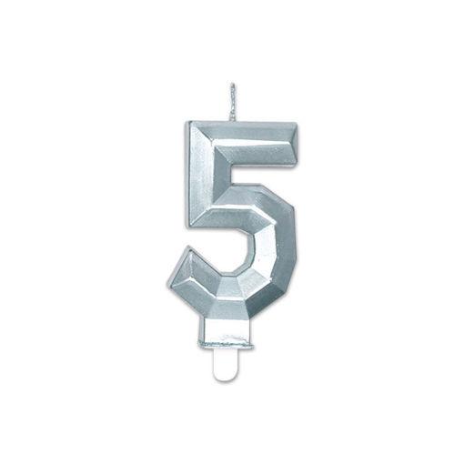 Candelina Diamant Argento Metal 9 cm numero 5